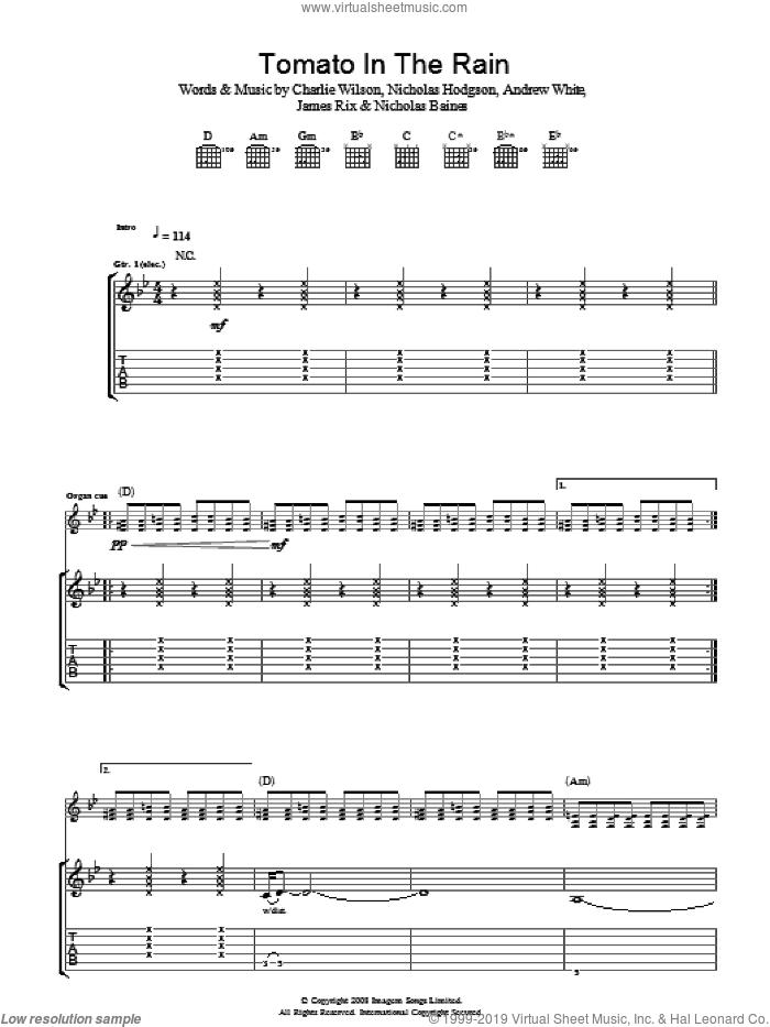 Tomato In The Rain sheet music for guitar (tablature) by Kaiser Chiefs, Andrew White, Charlie Wilson, James Rix, Nicholas Baines and Nicholas Hodgson, intermediate skill level
