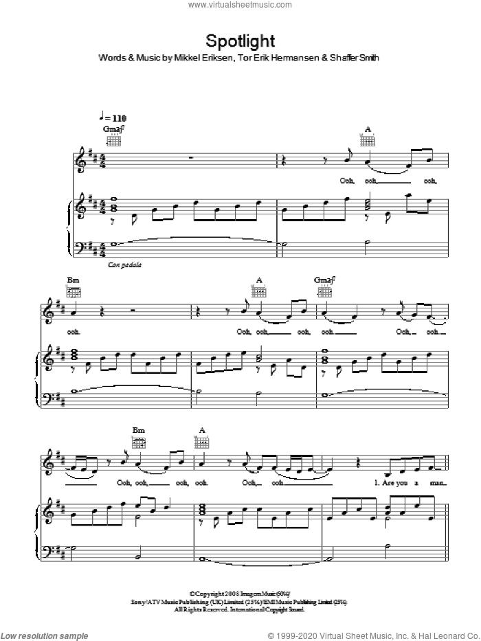 Spotlight sheet music for voice, piano or guitar by Jennifer Hudson, Mikkel Eriksen, Shaffer Smith and Tor Erik Hermansen, intermediate skill level