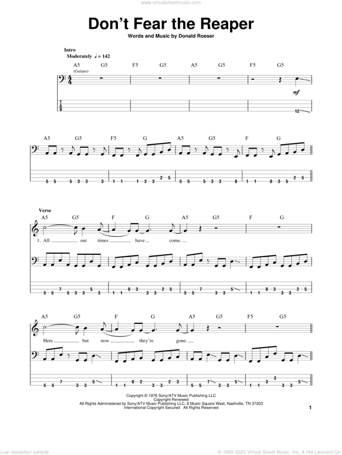 Don't Fear The Reaper sheet music for bass (tablature) (bass guitar) by Blue Oyster Cult and Donald Roeser, intermediate skill level