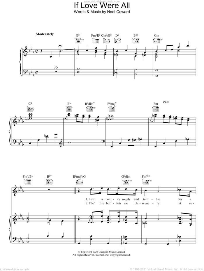 If Love Were All sheet music for voice, piano or guitar by Noel Coward, intermediate skill level