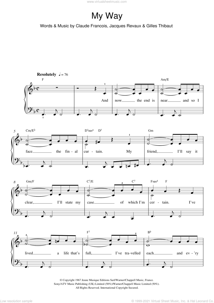 My Way sheet music for piano solo (beginners) by Frank Sinatra, Elvis Presley, Claude Francois, Gilles Thibaut, Jacques Revaux and Paul Anka, beginner piano (beginners)