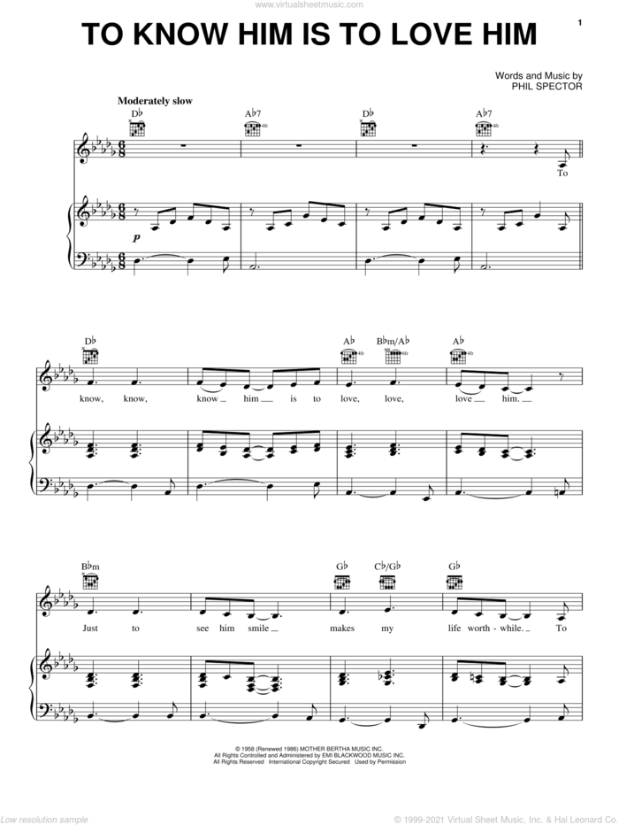 To Know Him Is To Love Him sheet music for voice, piano or guitar by Dolly Parton, Emmylou Harris, Teddy Bears, The Beatles and Phil Spector, intermediate skill level