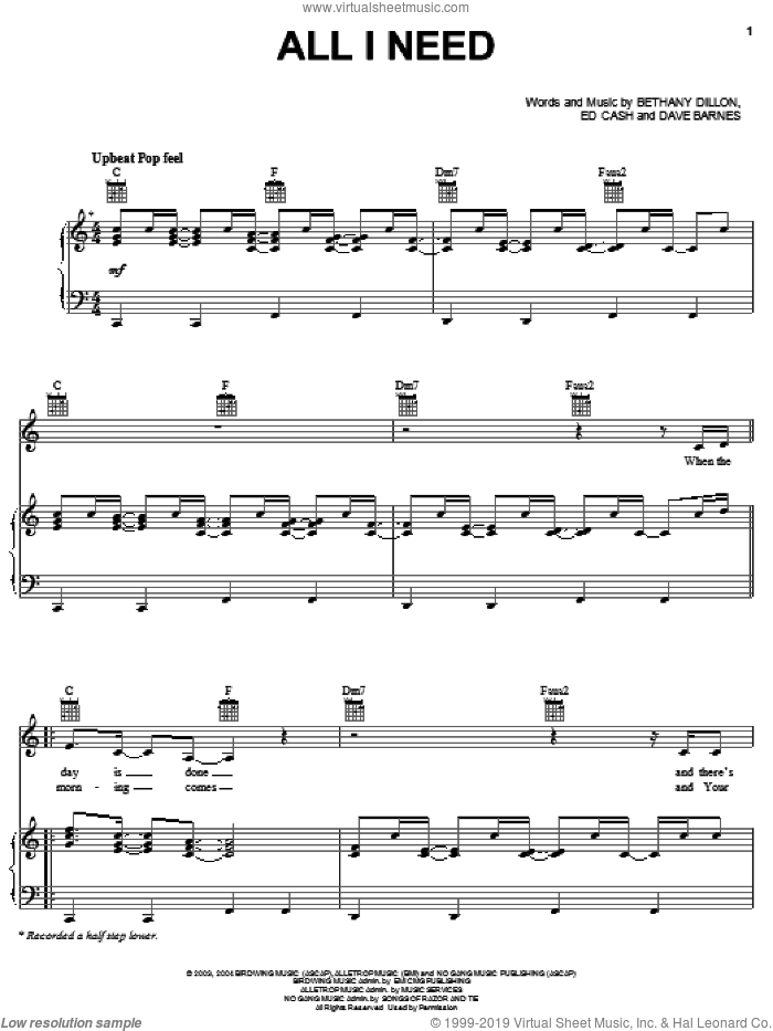 All I Need sheet music for voice, piano or guitar by Bethany Dillon, Dave Barnes and Ed Cash, intermediate skill level