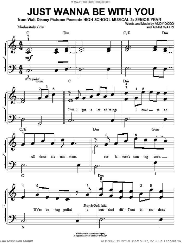 Just Wanna Be With You sheet music for piano solo (big note book) by High School Musical 3, Adam Watts and Andy Dodd, easy piano (big note book)