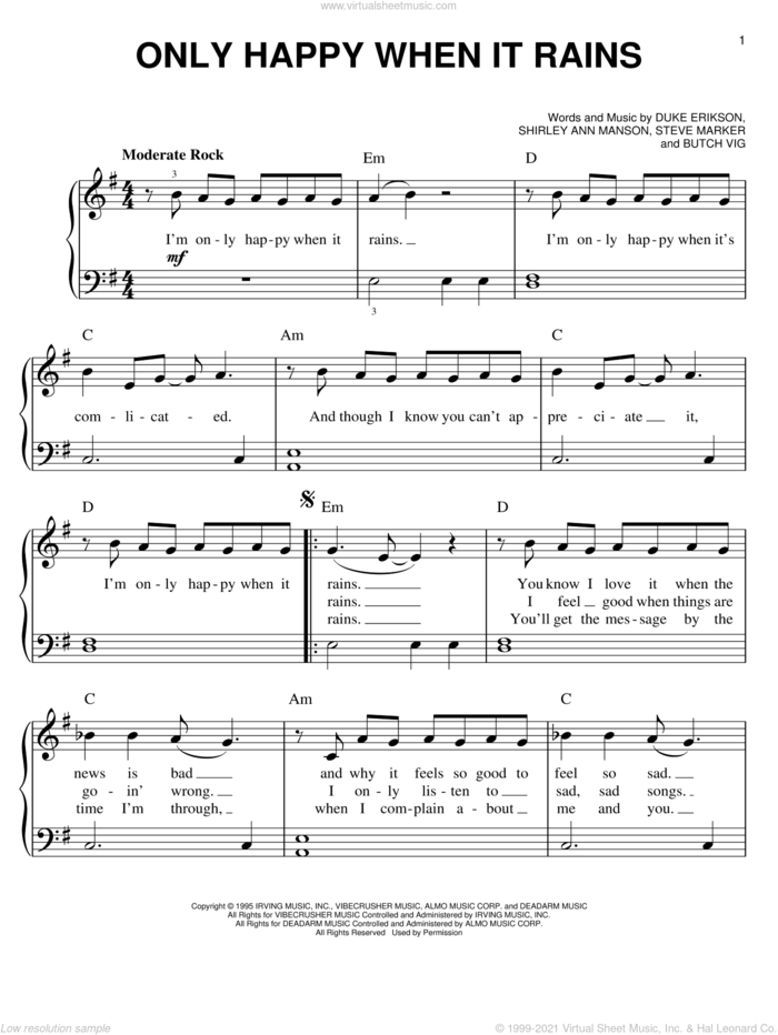 Only Happy When It Rains sheet music for piano solo by Garbage, Butch Vig, Duke Erikson, Shirley Ann Manson and Steve Marker, easy skill level