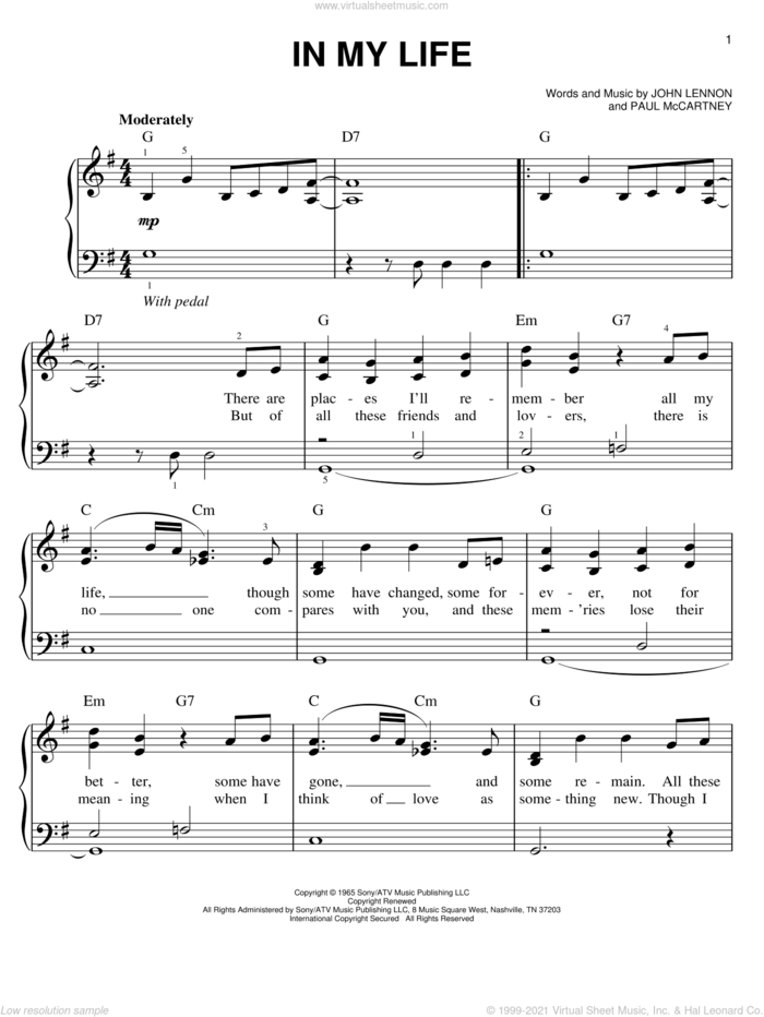 In My Life, (easy) sheet music for piano solo by The Beatles, John Lennon and Paul McCartney, wedding score, easy skill level
