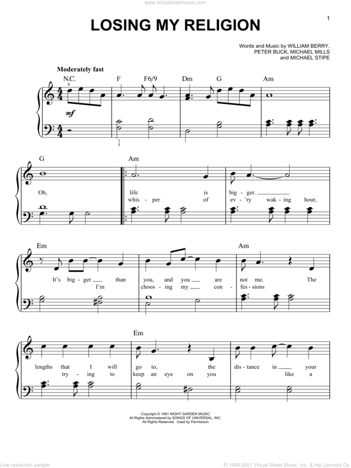 Losing My Religion sheet music for piano solo by R.E.M., Bill Berry, Michael Stipe, Mike Mills and Peter Buck, easy skill level