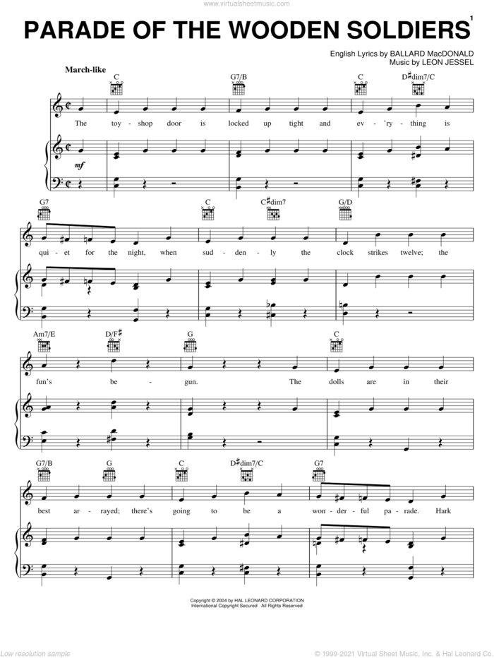 Parade Of The Wooden Soldiers sheet music for voice, piano or guitar by Ballard MacDonald and Leon Jessel, intermediate skill level