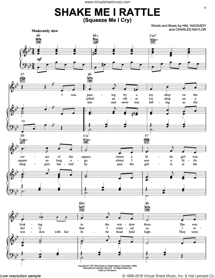 Shake Me I Rattle (Squeeze Me I Cry) sheet music for voice, piano or guitar by Marion Worth, Charles Naylor and Hal Clayton Hackady, intermediate skill level