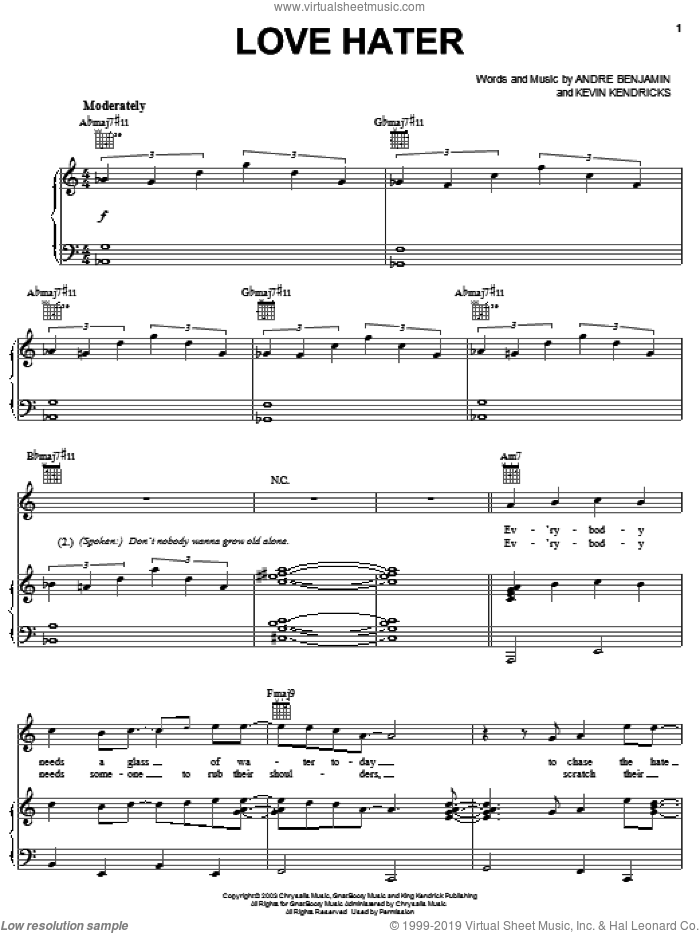 Love Hater sheet music for voice, piano or guitar by OutKast, Andre Benjamin and Kevin Kendricks, intermediate skill level