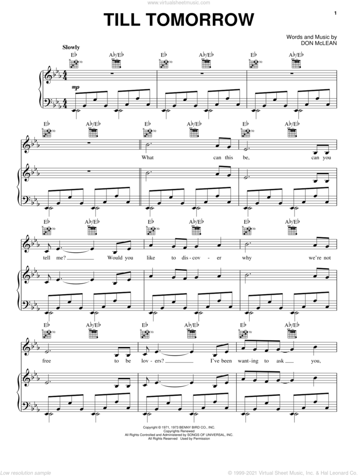 Till Tomorrow sheet music for voice, piano or guitar by Don McLean, intermediate skill level