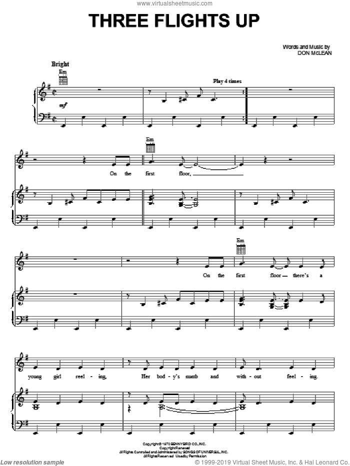 Three Flights Up sheet music for voice, piano or guitar by Don McLean, intermediate skill level