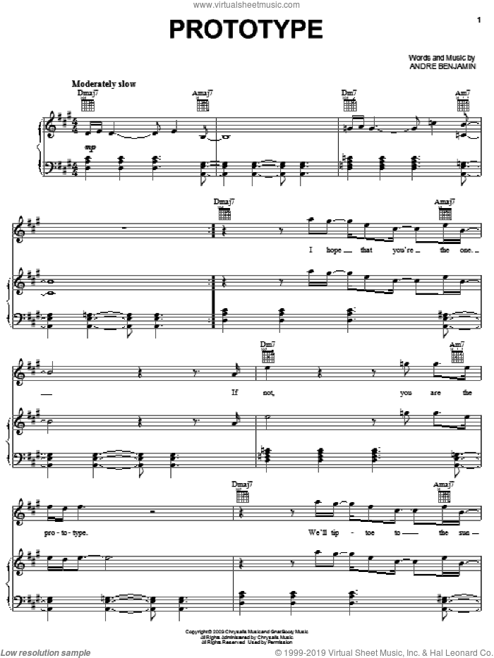 Prototype sheet music for voice, piano or guitar by OutKast and Andre Benjamin, intermediate skill level