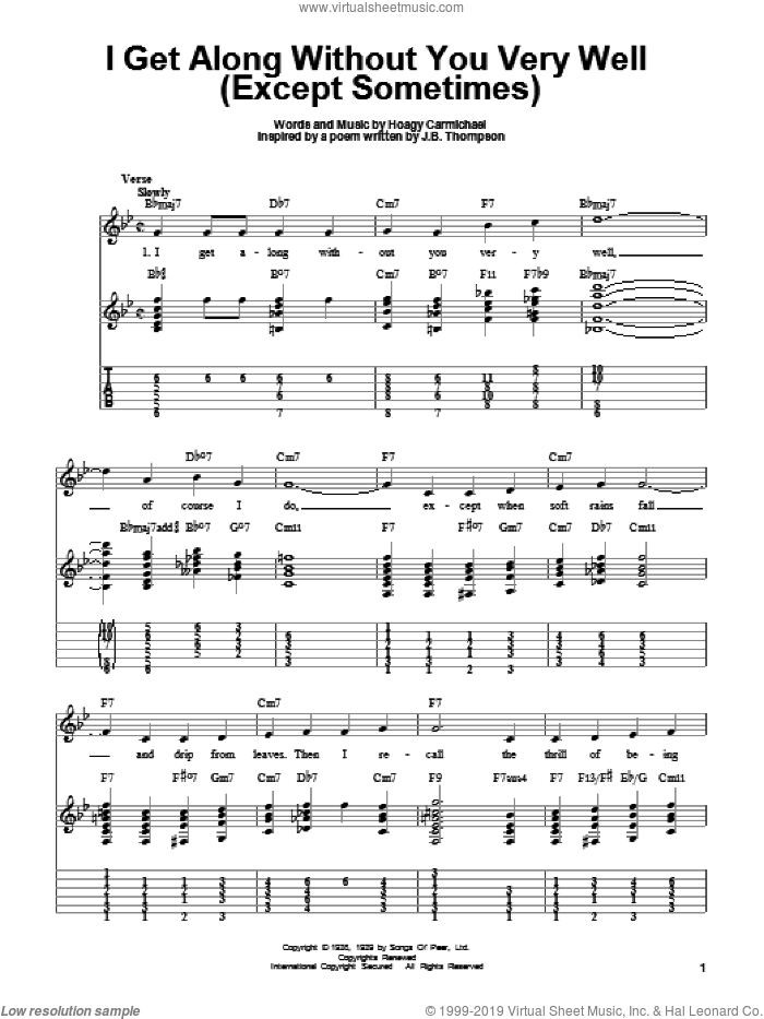 I Get Along Without You Very Well (Except Sometimes) sheet music for guitar solo (easy tablature) by Hoagy Carmichael, easy guitar (easy tablature)