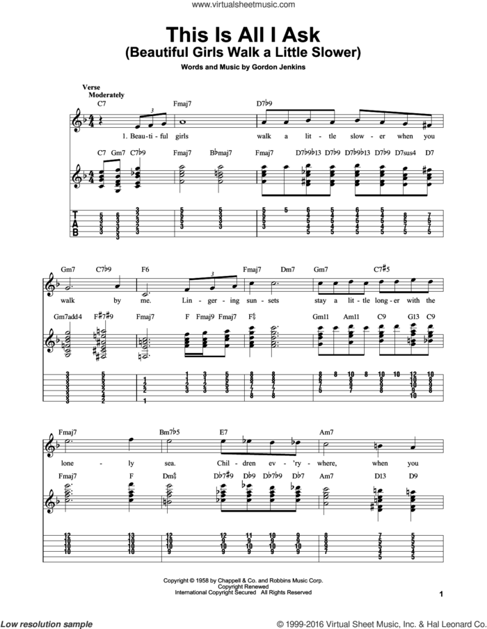 This Is All I Ask (Beautiful Girls Walk A Little Slower) sheet music for guitar solo (easy tablature) by Gordon Jenkins, easy guitar (easy tablature)