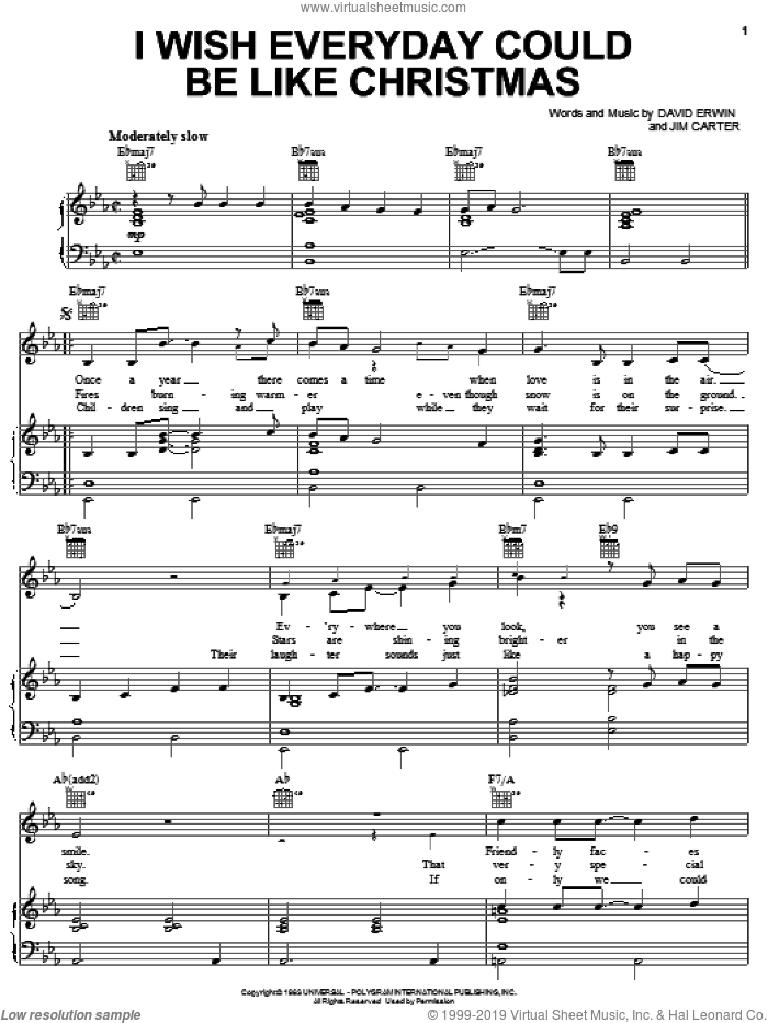I Wish Everyday Could Be Like Christmas sheet music for voice, piano or guitar by Brook Benton, David Erwin and Jim Carter, intermediate skill level