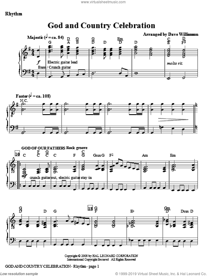 God And Country Celebration (Medley) sheet music for orchestra/band (violin 1 and 2) by Dave Williamson, intermediate skill level