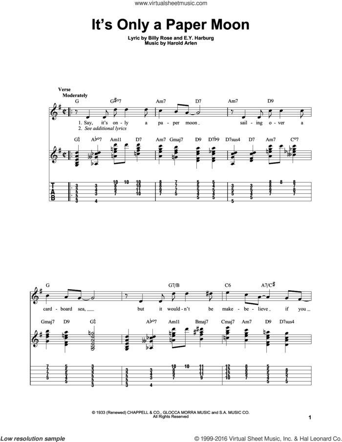 It's Only A Paper Moon sheet music for guitar solo (easy tablature) by E.Y. Harburg, Billy Rose and Harold Arlen, easy guitar (easy tablature)