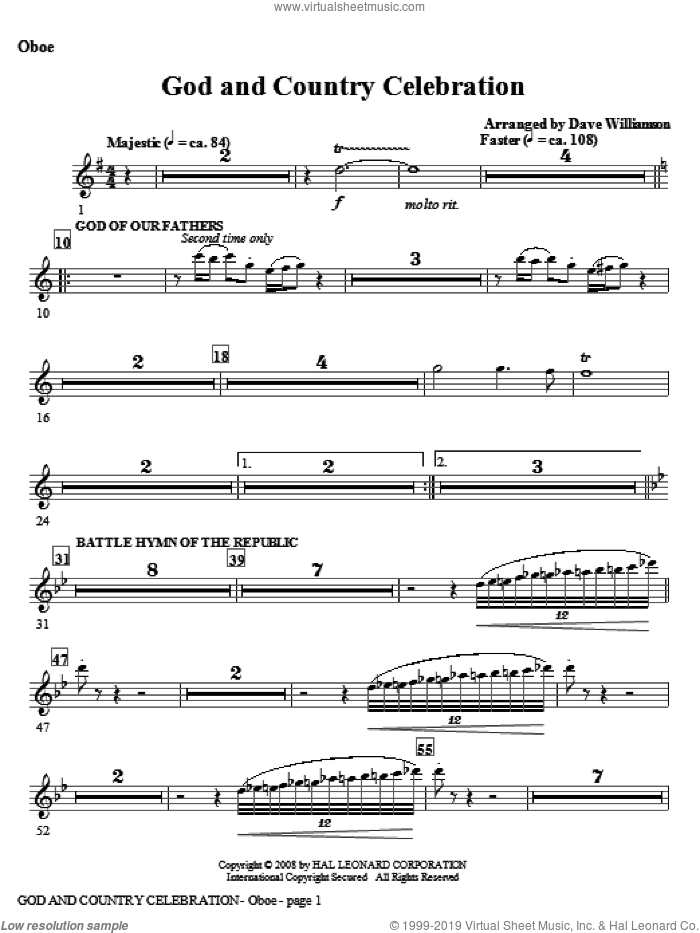 God And Country Celebration (Medley) sheet music for orchestra/band (oboe) by Dave Williamson, intermediate skill level