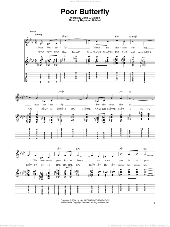 Poor Butterfly sheet music for guitar solo (easy tablature) by Charlie Christian, Benny Goodman, Sarah Vaughan, John L. Golden and Raymond Hubbell, easy guitar (easy tablature)