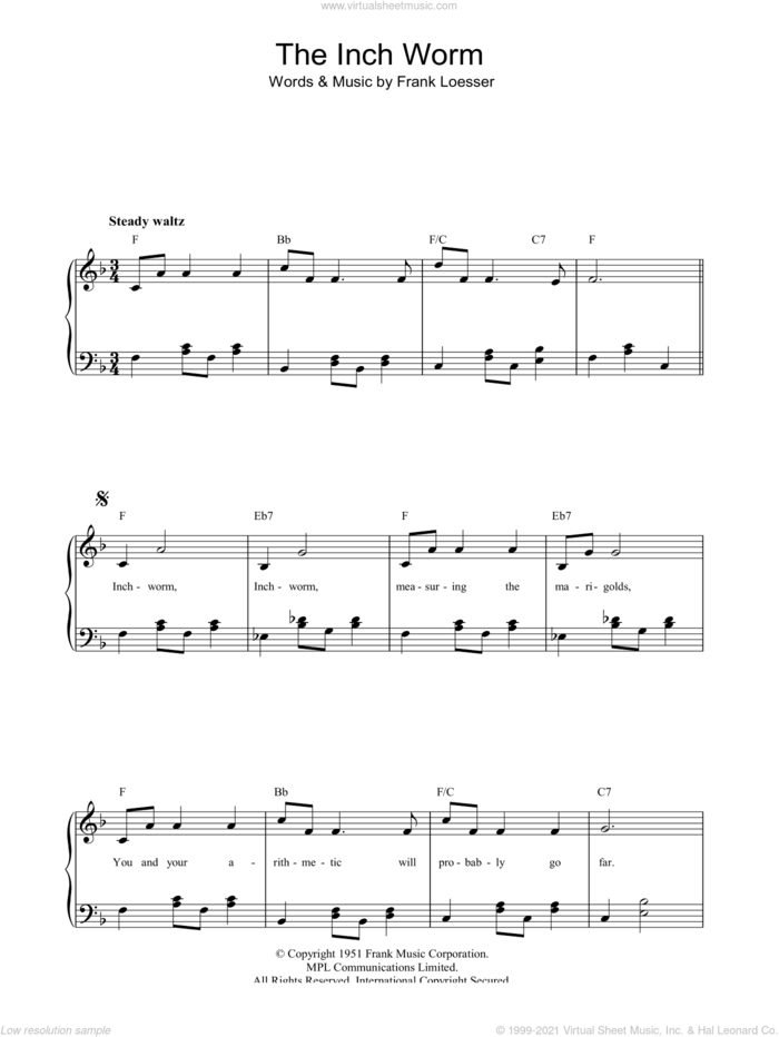 The Inch Worm sheet music for piano solo by Frank Loesser, easy skill level