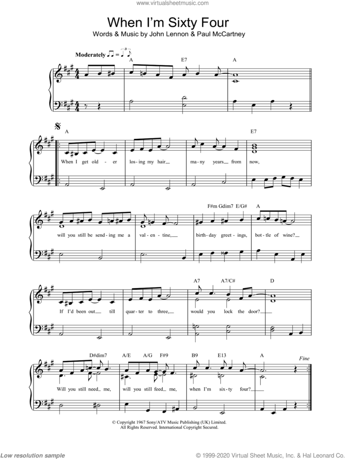 When I'm Sixty-Four sheet music for piano solo by The Beatles, John Lennon and Paul McCartney, easy skill level