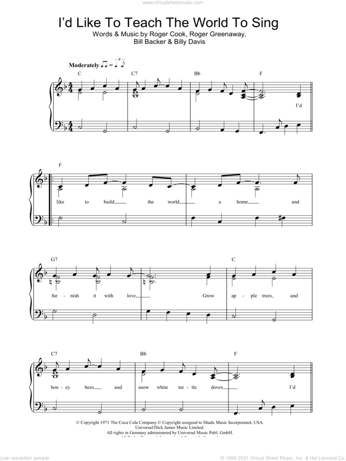 I'd Like To Teach The World To Sing sheet music for piano solo by The New Seekers, Bill Backer, Billy Davis, Roger Cook and Roger Greenaway, easy skill level