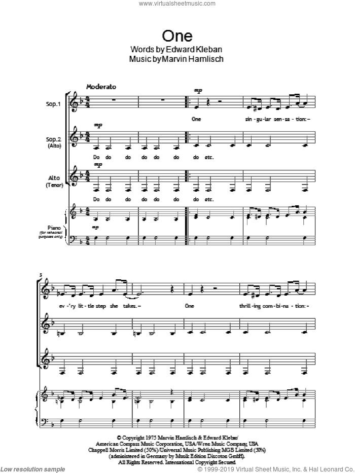 One (from A Chorus Line) sheet music for choir (SSA: soprano, alto) by Marvin Hamlisch, intermediate skill level
