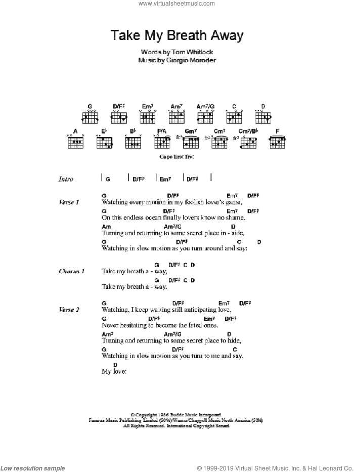 Take My Breath Away sheet music for guitar (chords) by Giorgio Moroder, Irving Berlin and Tom Whitlock, intermediate skill level