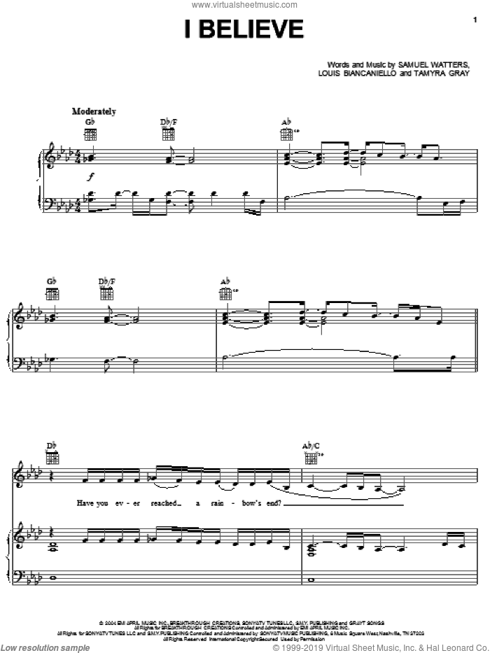 I Believe sheet music for voice, piano or guitar by Fantasia, American Idol, Louis Biancaniello, Sam Watters and Tamyra Gray, intermediate skill level