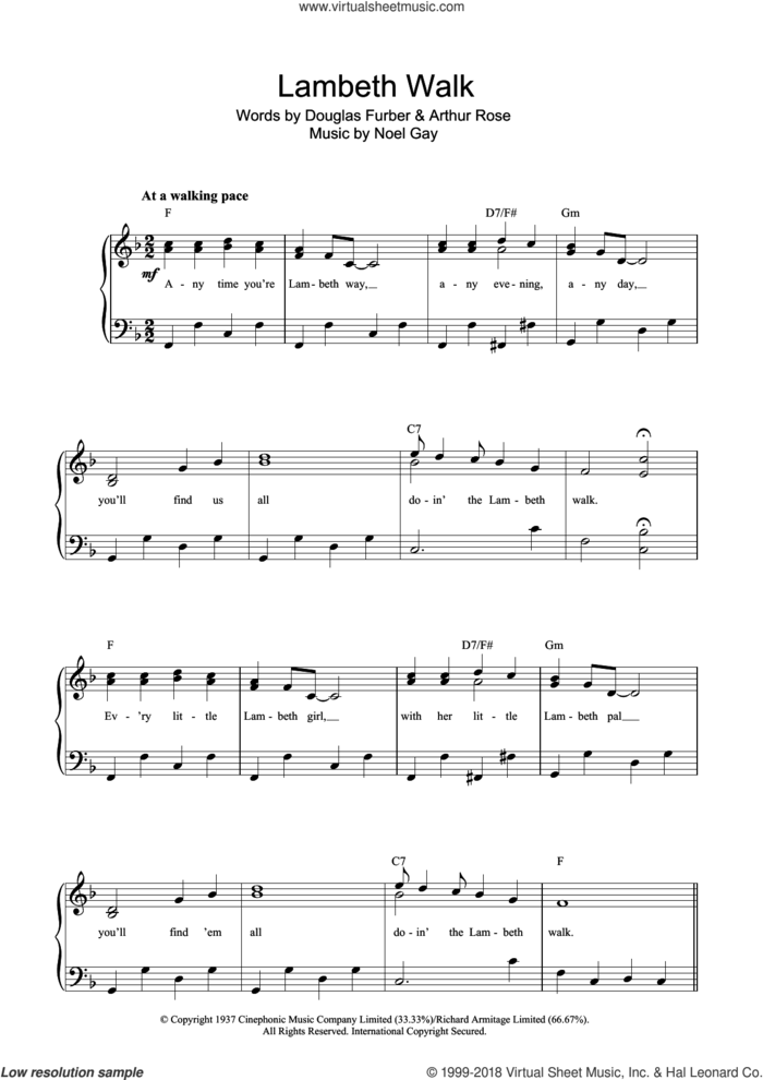 The Lambeth Walk sheet music for voice and piano by Noel Gay, Arthur Rose and Douglas Furber, intermediate skill level