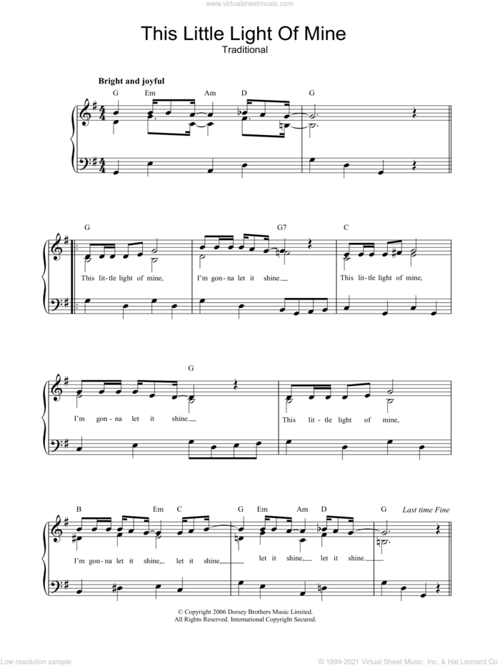 This Little Light Of Mine, (easy) sheet music for piano solo, easy skill level