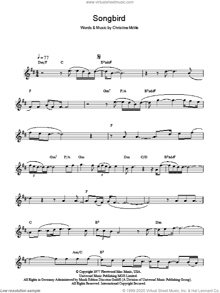Songbird sheet music for voice and other instruments (fake book) by Fleetwood Mac and Christine McVie, intermediate skill level