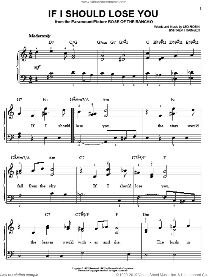 If I Should Lose You sheet music for piano solo by Ralph Rainger and Leo Robin, easy skill level