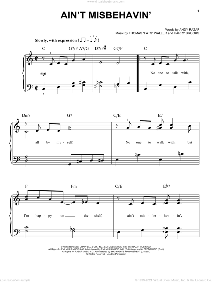 Ain't Misbehavin' sheet music for piano solo by Andy Razaf, Louis Armstrong, Thomas Waller, Thomas Waller and Harry Brooks, easy skill level