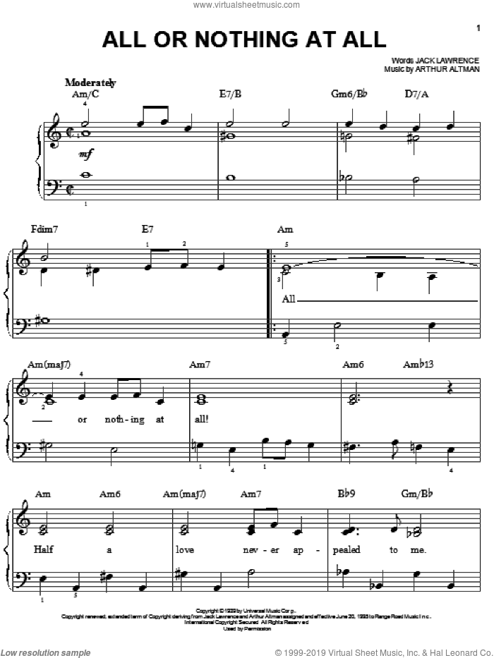 All Or Nothing At All sheet music for piano solo by Frank Sinatra, Ella Fitzgerald, Harry James, Arthur Altman and Jack Lawrence, wedding score, easy skill level