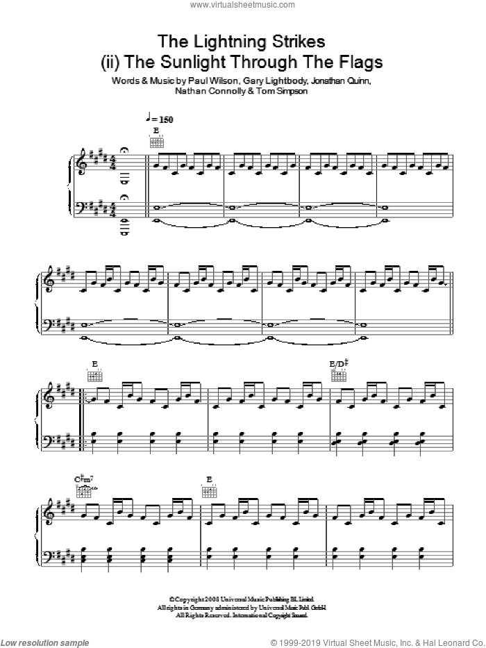 The Lightning Strike (ii. The Sunlight Through The Flags) sheet music for voice, piano or guitar by Snow Patrol, Gary Lightbody, Jonathan Quinn, Nathan Connolly, Paul Wilson and Tom Simpson, intermediate skill level