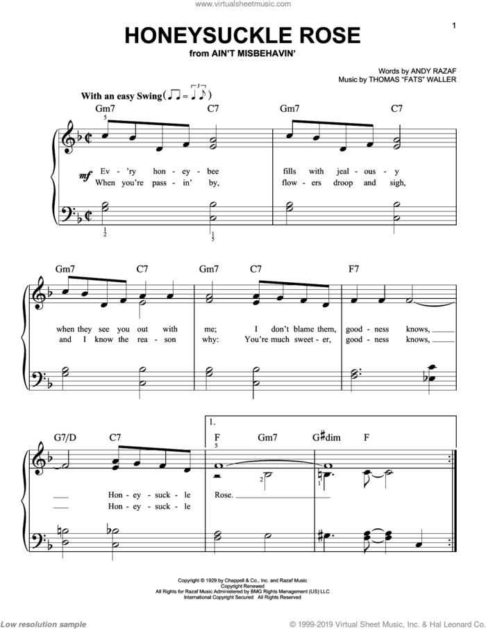 Honeysuckle Rose sheet music for piano solo by Louis Armstrong, Benny Goodman, Django Reinhardt, Duke Ellington, Nat King Cole, Sarah Vaughan, Teddy Wilson, Willie Nelson, Andy Razaf and Thomas Waller, easy skill level