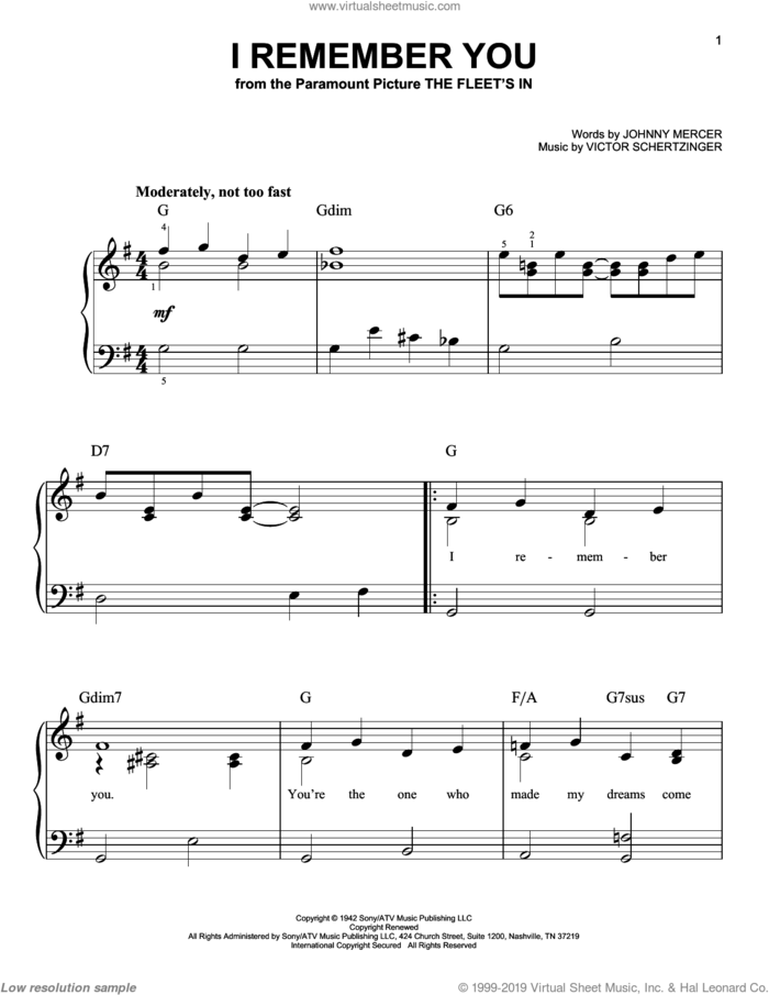 I Remember You sheet music for piano solo by Jo Stafford, Charlie Parker, Doris Day, Lee Konitz, Nat King Cole, Sarah Vaughan, Johnny Mercer and Victor Schertzinger, easy skill level