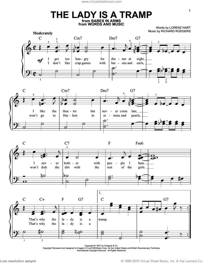 The Lady Is A Tramp, (easy) sheet music for piano solo by Rodgers & Hart, Babes In Arms (Musical), Ella Fitzgerald, Frank Sinatra, Lena Horne, Miscellaneous, Lorenz Hart and Richard Rodgers, easy skill level