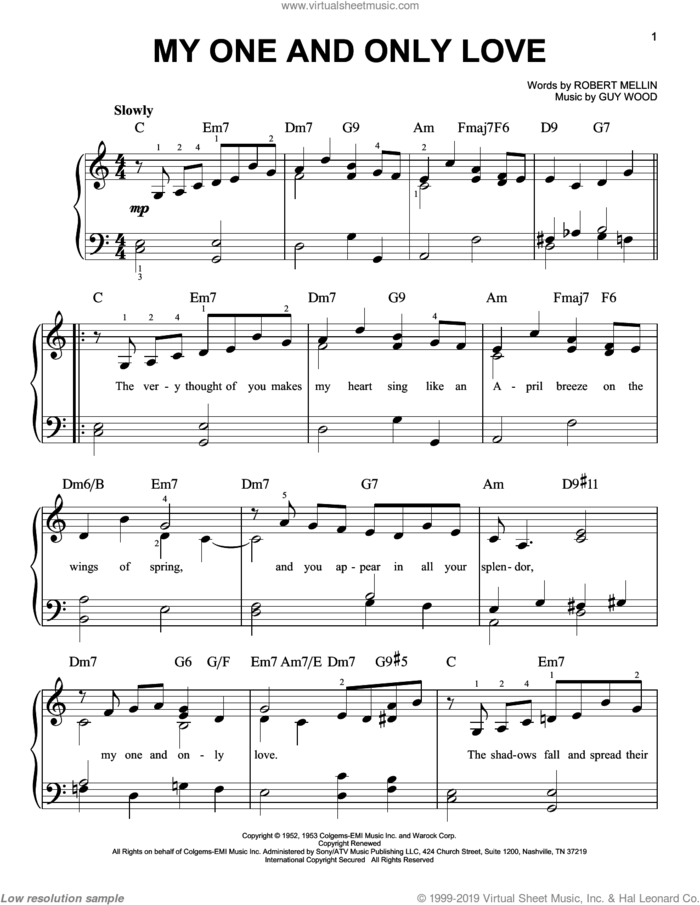 My One And Only Love sheet music for piano solo by Louis Armstrong, Dean Martin, Frank Sinatra, John Coltrane, Sonny Rollins, Guy Wood and Robert Mellin, wedding score, easy skill level