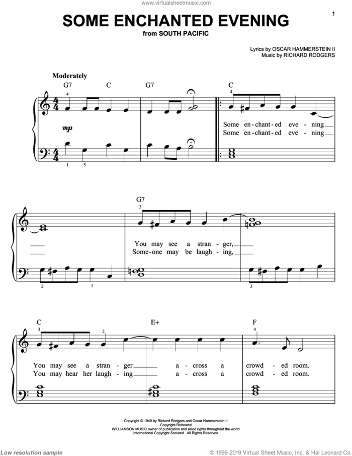 Some Enchanted Evening, (easy) sheet music for piano solo by Rodgers & Hammerstein, South Pacific (Musical), Oscar II Hammerstein and Richard Rodgers, easy skill level