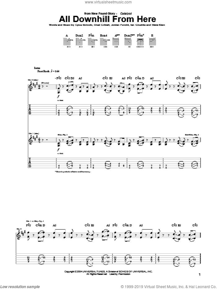 All Downhill From Here sheet music for guitar (tablature) by New Found Glory, Chad Gilbert, Cyrus Bolooki, Ian Grushka, Jordan Pundik and Steve Klein, intermediate skill level
