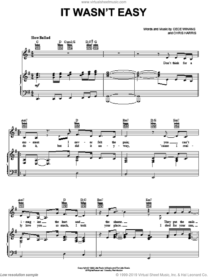 It Wasn't Easy sheet music for voice, piano or guitar by CeCe Winans and Chris Harris, intermediate skill level