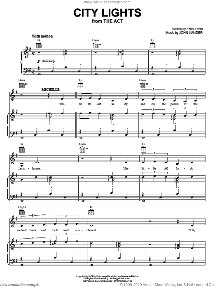 City Lights sheet music for voice, piano or guitar by Kander & Ebb, Fred Ebb and John Kander, intermediate skill level