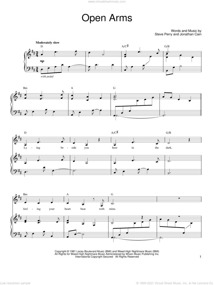 Open Arms sheet music for voice, piano or guitar by Journey, Jonathan Cain and Steve Perry, wedding score, intermediate skill level