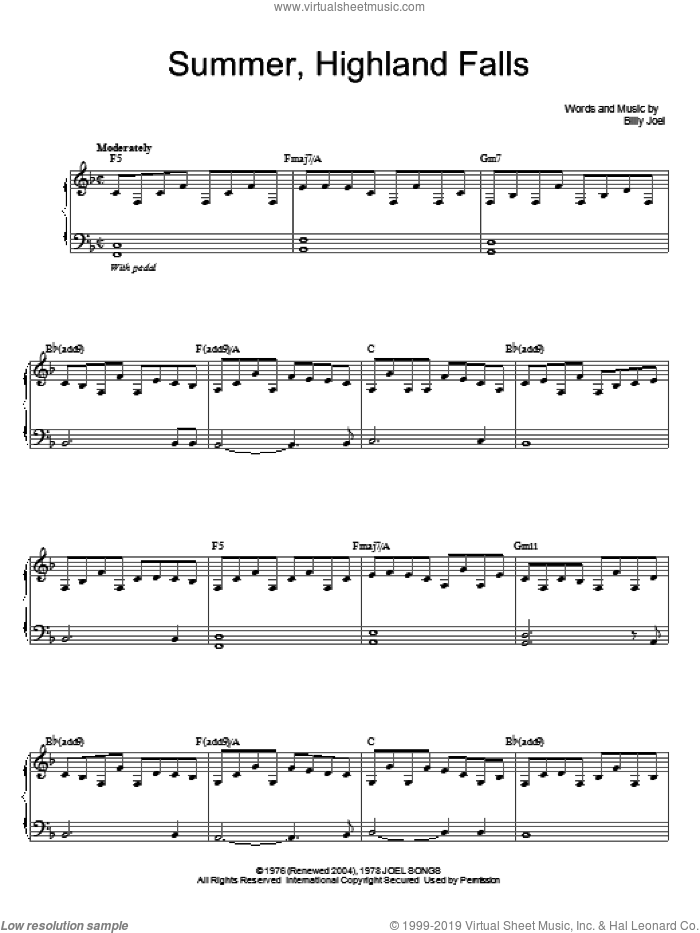 Summer, Highland Falls sheet music for voice, piano or guitar by Billy Joel, intermediate skill level