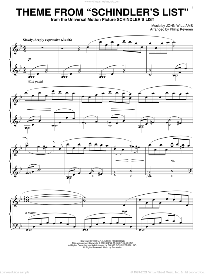 Theme from Schindler's List sheet music for piano solo by John Williams and Phillip Keveren, intermediate skill level