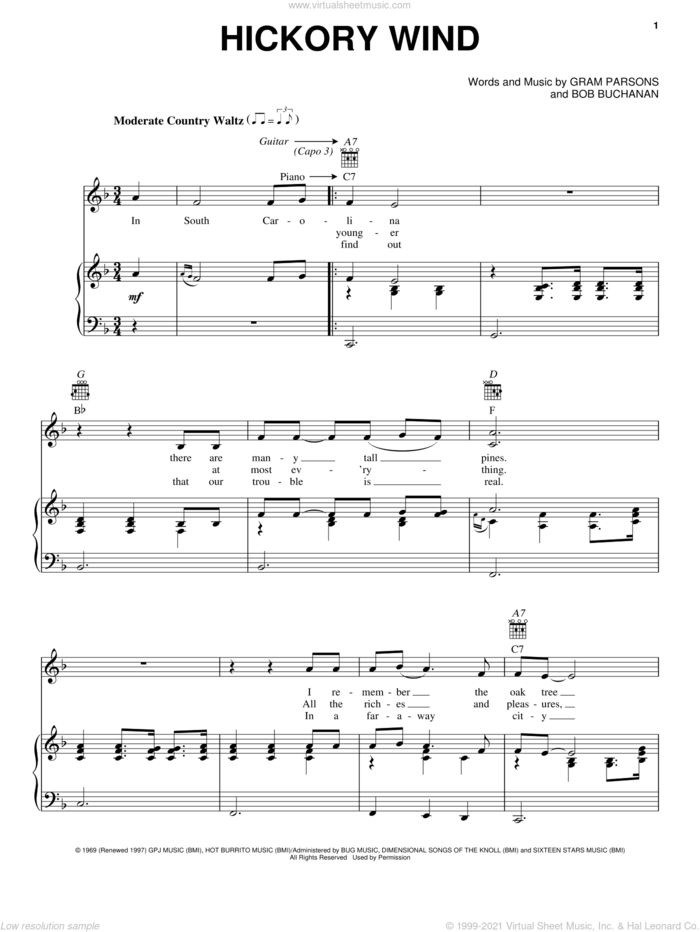 Hickory Wind sheet music for voice, piano or guitar by Gram Parsons and Bob Buchanan, intermediate skill level