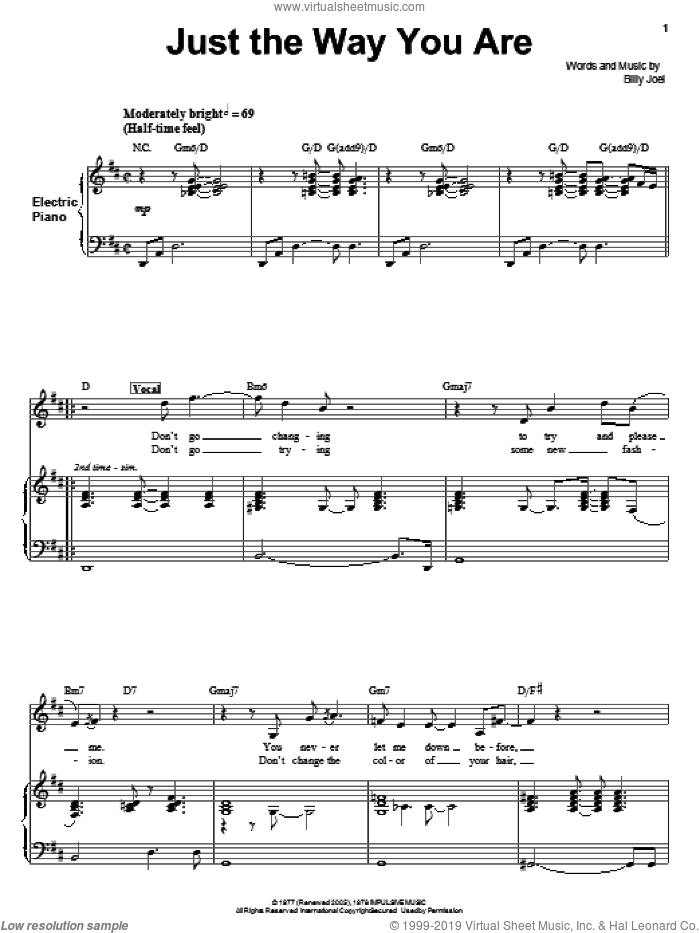 Just The Way You Are sheet music for voice and piano by Billy Joel, wedding score, intermediate skill level